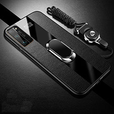 Soft Silicone Gel Leather Snap On Case Cover with Magnetic Finger Ring Stand S01 for Huawei Honor 30 Pro Black
