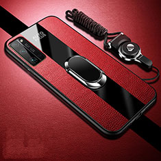 Soft Silicone Gel Leather Snap On Case Cover with Magnetic Finger Ring Stand S01 for Huawei Honor 30 Pro Red
