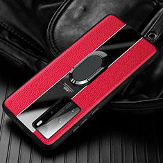 Soft Silicone Gel Leather Snap On Case Cover with Magnetic Finger Ring Stand S01 for Huawei Honor 30 Red
