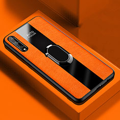 Soft Silicone Gel Leather Snap On Case Cover with Magnetic Finger Ring Stand S01 for Huawei Y8p Orange