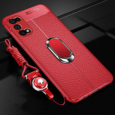 Soft Silicone Gel Leather Snap On Case Cover with Magnetic Finger Ring Stand S01 for Realme V5 5G Red
