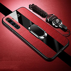 Soft Silicone Gel Leather Snap On Case Cover with Magnetic Finger Ring Stand S01 for Realme X50 Pro 5G Red