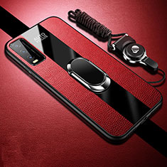 Soft Silicone Gel Leather Snap On Case Cover with Magnetic Finger Ring Stand S01 for Vivo Y12s Red