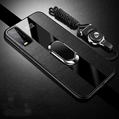 Soft Silicone Gel Leather Snap On Case Cover with Magnetic Finger Ring Stand S01 for Vivo Y20s Black