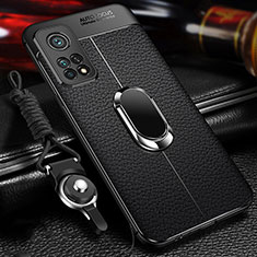 Soft Silicone Gel Leather Snap On Case Cover with Magnetic Finger Ring Stand S01 for Xiaomi Mi 10T Pro 5G Black