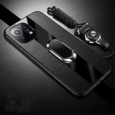 Soft Silicone Gel Leather Snap On Case Cover with Magnetic Finger Ring Stand S01 for Xiaomi Mi 11 5G Black