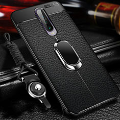 Soft Silicone Gel Leather Snap On Case Cover with Magnetic Finger Ring Stand S01 for Xiaomi Redmi K30 5G Black