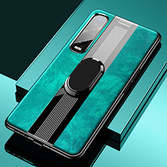 Soft Silicone Gel Leather Snap On Case Cover with Magnetic Finger Ring Stand S02 for Oppo Find X2 Pro Green