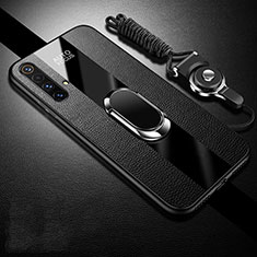 Soft Silicone Gel Leather Snap On Case Cover with Magnetic Finger Ring Stand S02 for Realme X3 SuperZoom Black