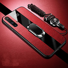 Soft Silicone Gel Leather Snap On Case Cover with Magnetic Finger Ring Stand S02 for Realme X50m 5G Red