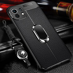 Soft Silicone Gel Leather Snap On Case Cover with Magnetic Finger Ring Stand S02 for Xiaomi Mi 11 5G Black