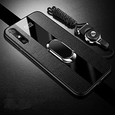 Soft Silicone Gel Leather Snap On Case Cover with Magnetic Finger Ring Stand S03 for Huawei Enjoy 10e Black