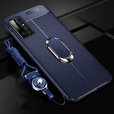 Soft Silicone Gel Leather Snap On Case Cover with Magnetic Finger Ring Stand S03 for Huawei Honor 30 Blue