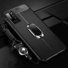 Soft Silicone Gel Leather Snap On Case Cover with Magnetic Finger Ring Stand S03 for Huawei Honor 30 Pro Black