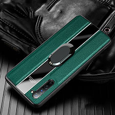 Soft Silicone Gel Leather Snap On Case Cover with Magnetic Finger Ring Stand S03 for Oppo Find X2 Lite Green