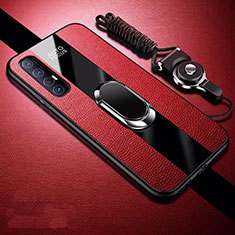 Soft Silicone Gel Leather Snap On Case Cover with Magnetic Finger Ring Stand S03 for Oppo Find X2 Neo Red