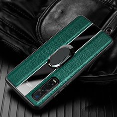 Soft Silicone Gel Leather Snap On Case Cover with Magnetic Finger Ring Stand S03 for Oppo Find X2 Pro Green