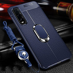 Soft Silicone Gel Leather Snap On Case Cover with Magnetic Finger Ring Stand S04 for Oppo Find X2 Blue