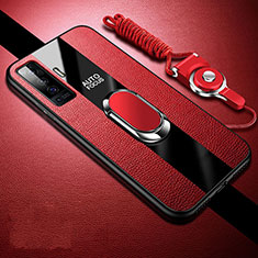 Soft Silicone Gel Leather Snap On Case Cover with Magnetic Finger Ring Stand S04 for Vivo X50 5G Red