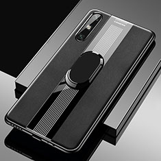 Soft Silicone Gel Leather Snap On Case Cover with Magnetic Finger Ring Stand S05 for Huawei Enjoy 10e Black