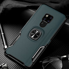 Soft Silicone Gel Leather Snap On Case Cover with Magnetic Finger Ring Stand T01 for Huawei Mate 20 Green