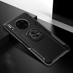Soft Silicone Gel Leather Snap On Case Cover with Magnetic Finger Ring Stand T01 for Huawei Mate 30 Black