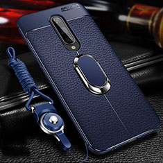 Soft Silicone Gel Leather Snap On Case Cover with Magnetic Finger Ring Stand T01 for OnePlus 8 Blue