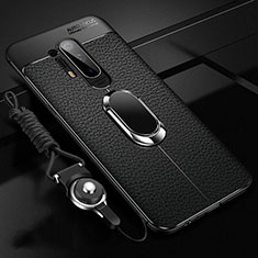 Soft Silicone Gel Leather Snap On Case Cover with Magnetic Finger Ring Stand T01 for OnePlus 8 Pro Black