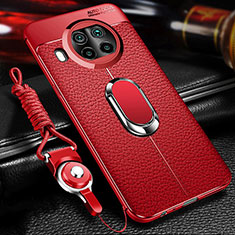 Soft Silicone Gel Leather Snap On Case Cover with Magnetic Finger Ring Stand T01 for Xiaomi Mi 10T Lite 5G Red