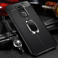 Soft Silicone Gel Leather Snap On Case Cover with Magnetic Finger Ring Stand T01 for Xiaomi Redmi Note 9 Black