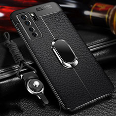 Soft Silicone Gel Leather Snap On Case Cover with Magnetic Finger Ring Stand T02 for Huawei Nova 7 SE 5G Black