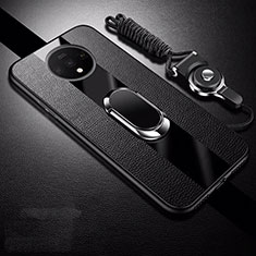 Soft Silicone Gel Leather Snap On Case Cover with Magnetic Finger Ring Stand T02 for OnePlus 7T Black