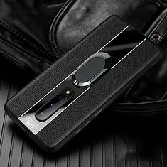 Soft Silicone Gel Leather Snap On Case Cover with Magnetic Finger Ring Stand T02 for OnePlus 8 Black
