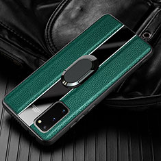Soft Silicone Gel Leather Snap On Case Cover with Magnetic Finger Ring Stand T02 for Samsung Galaxy S20 Green