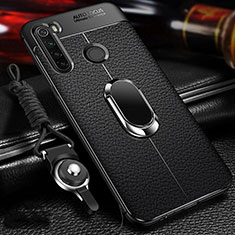 Soft Silicone Gel Leather Snap On Case Cover with Magnetic Finger Ring Stand T02 for Xiaomi Redmi Note 8 Black
