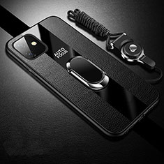 Soft Silicone Gel Leather Snap On Case Cover with Magnetic Finger Ring Stand T03 for Apple iPhone 11 Black