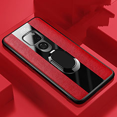 Soft Silicone Gel Leather Snap On Case Cover with Magnetic Finger Ring Stand T03 for Huawei Mate 20 Red