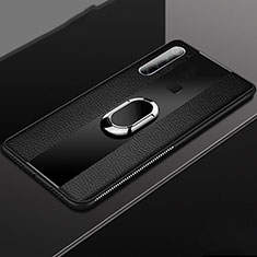 Soft Silicone Gel Leather Snap On Case Cover with Magnetic Finger Ring Stand T03 for Xiaomi Redmi Note 8 Black