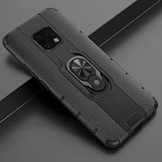 Soft Silicone Gel Leather Snap On Case Cover with Magnetic Finger Ring Stand T04 for Huawei Mate 20 Pro Black