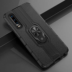 Soft Silicone Gel Leather Snap On Case Cover with Magnetic Finger Ring Stand T04 for Huawei P30 Black