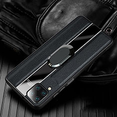 Soft Silicone Gel Leather Snap On Case Cover with Magnetic Finger Ring Stand T04 for Huawei P40 Lite Black
