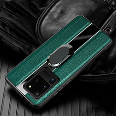 Soft Silicone Gel Leather Snap On Case Cover with Magnetic Finger Ring Stand T04 for Samsung Galaxy S20 Ultra 5G Green