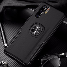 Soft Silicone Gel Leather Snap On Case Cover with Magnetic Finger Ring Stand T05 for Huawei P30 Pro Black