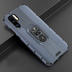 Soft Silicone Gel Leather Snap On Case Cover with Magnetic Finger Ring Stand T06 for Huawei P30 Pro Blue