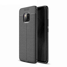 Soft Silicone Gel Leather Snap On Case for Huawei Mate 20 Pro Black