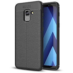 Soft Silicone Gel Leather Snap On Case for Samsung Galaxy A5 (2018) A530F Black