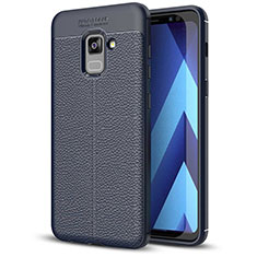Soft Silicone Gel Leather Snap On Case for Samsung Galaxy A5 (2018) A530F Blue