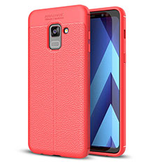 Soft Silicone Gel Leather Snap On Case for Samsung Galaxy A8+ A8 Plus (2018) A730F Red