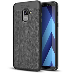 Soft Silicone Gel Leather Snap On Case for Samsung Galaxy A8+ A8 Plus (2018) Duos A730F Black