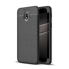 Soft Silicone Gel Leather Snap On Case for Samsung Galaxy J3 (2018) SM-J377A Black